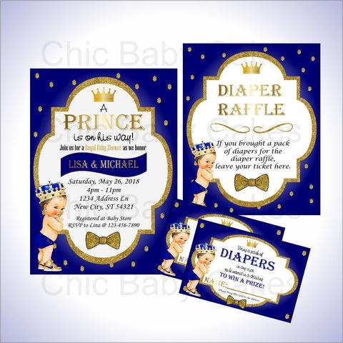 Prince Invite & Diaper Raffle Bundle, Brunette