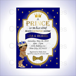 Blue & Gold Royal Prince Baby Shower Invite