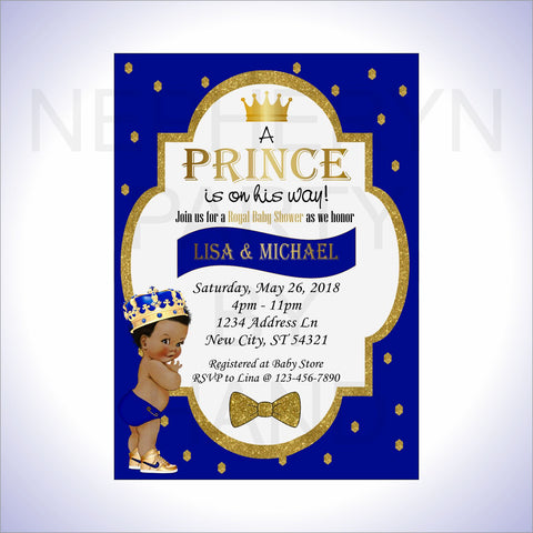 Little Prince Invitation - Royal Blue, Gold