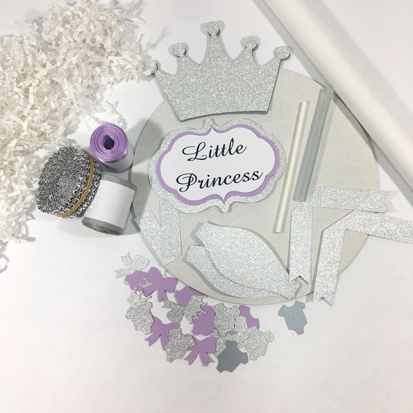 Lavender and Silver Little Princess Diaper Cake Kit