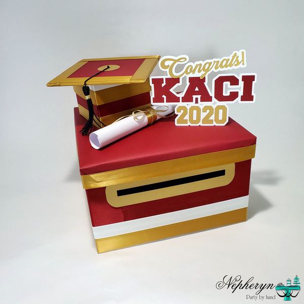 Maroon & Gold Large Graduation Card Box