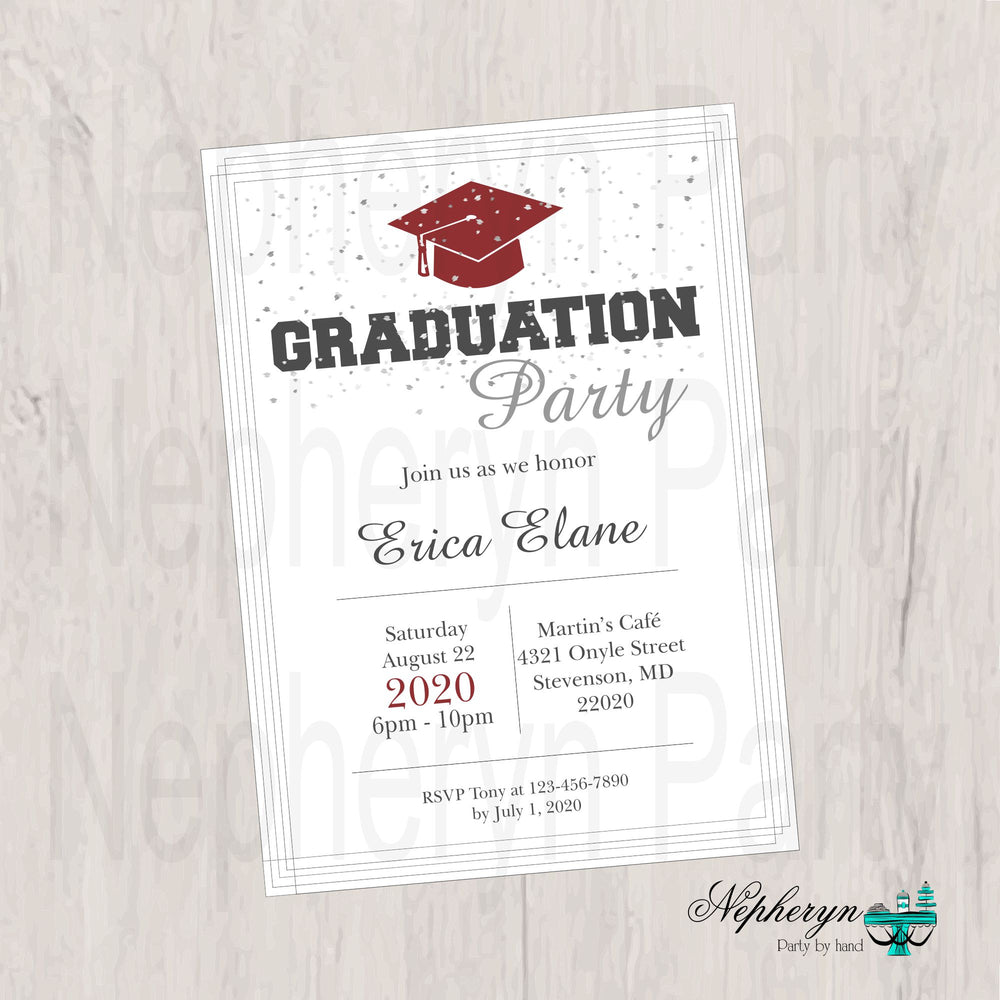 Maroon and Gray Graduation Invite