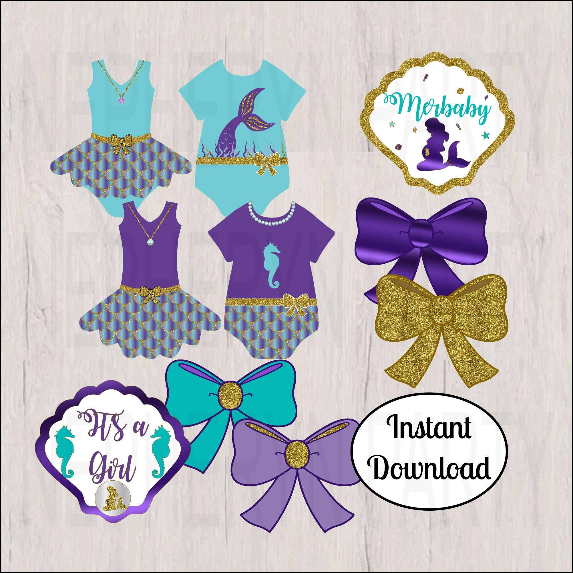 Printable Pregnant Mermaid Clipart - Purple, Teal, Gold