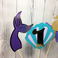 Mermaid Birthday Centerpiece Sticks - Purple, Teal, Gold