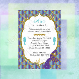 Mermaid Birthday Party Invite