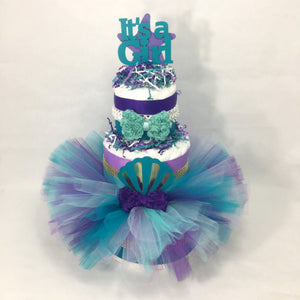 Mermaid Baby Shower Tutu Diaper Cake
