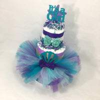 It's A Girl Mermaid Tutu Diaper Cake Centerpiece