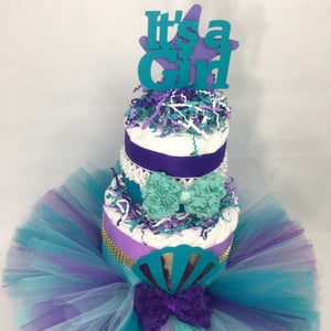 Purple, Teal, & Gold Mermaid Tutu Diaper Cake