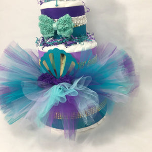 Mermaid Tutu Diaper Cake Centerpiece