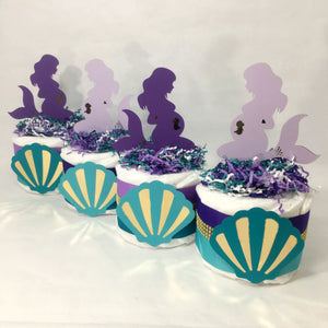 Pregnant Mermaid Mini Diaper Cake Centerpieces