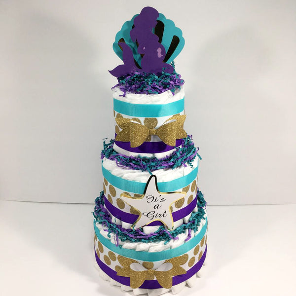 Pregnant Mermaid Diaper Cake Centerpiece