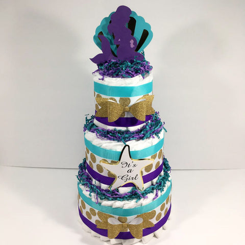 Pregnant Mermaid 3-Tier Diaper Cake Centerpiece