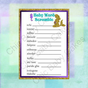 Printable Pregnant Mermaid Baby Shower Game Pack