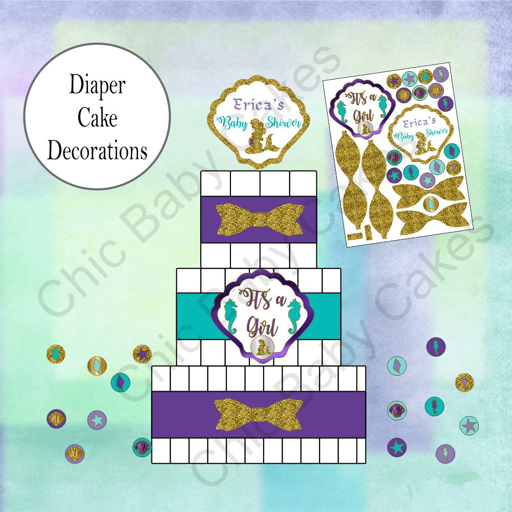 Printable Pregnant Mermaid Diaper Cake Decorations