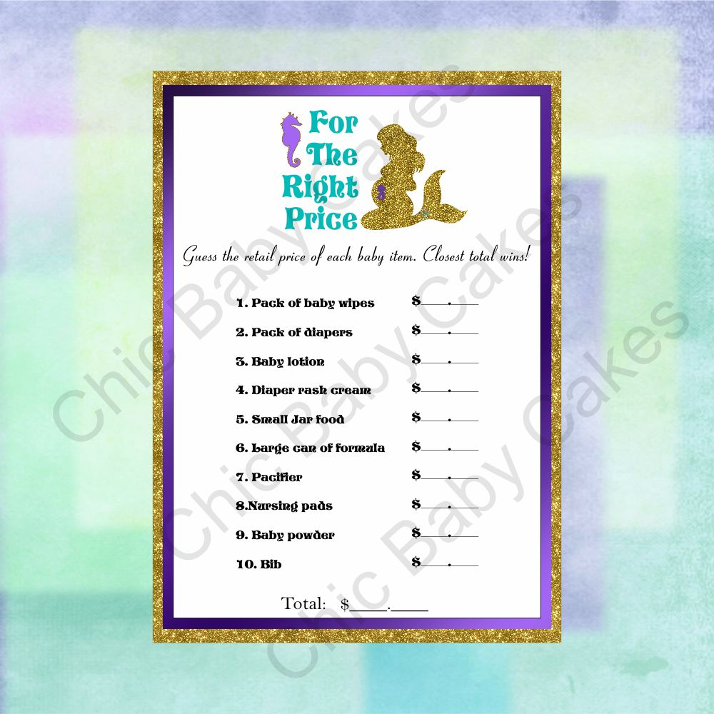 Printable Pregnant Mermaid Baby Shower Game Pack Chic Baby Cakes