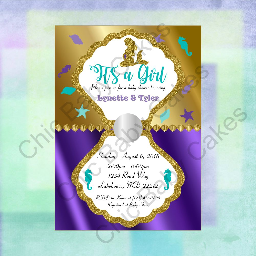 Pregnant Mermaid Baby Shower Invitation