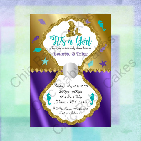 Printable Pregnant Mermaid Baby Shower Invitation