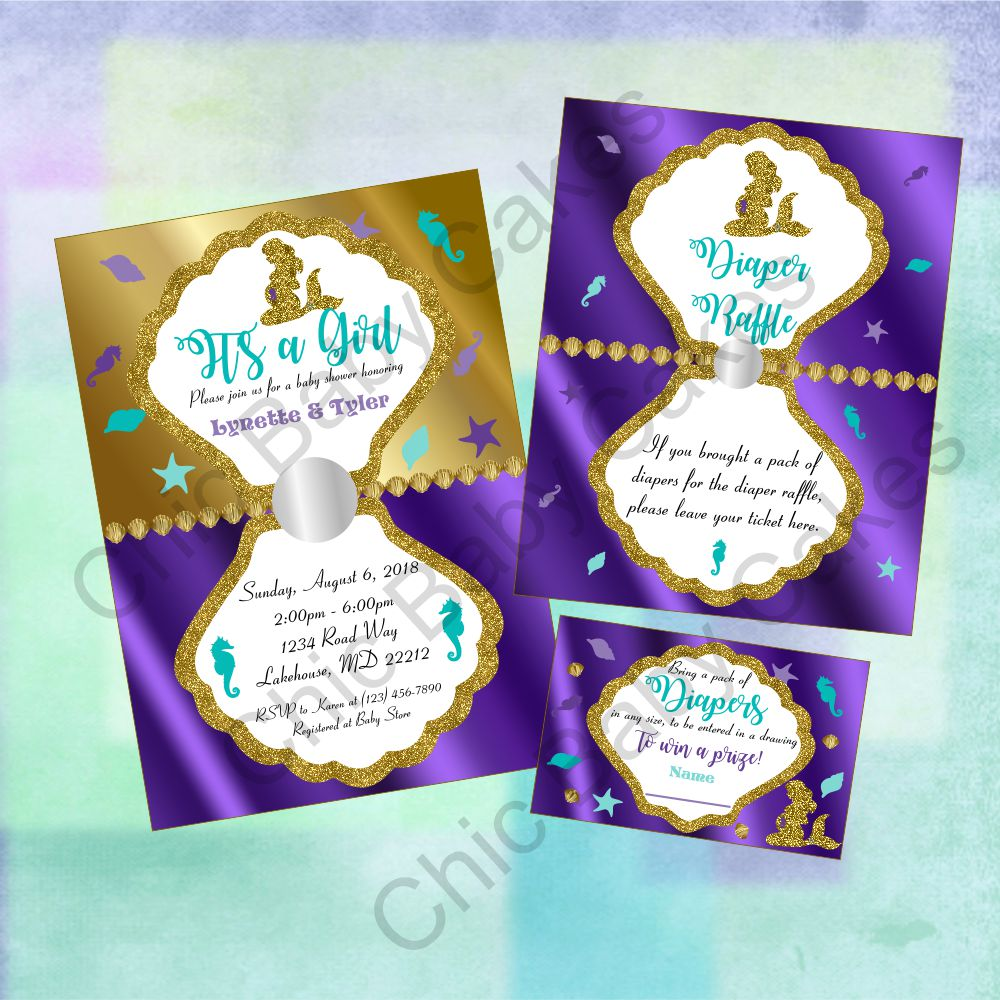 Pregnant Mermaid Baby Shower Decorations Pack Chic Baby Cakes