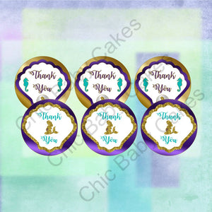 Pregnant Mermaid Baby Shower Thank You Tags