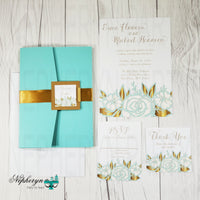 Mint and Gold Floral Wedding Invite Set