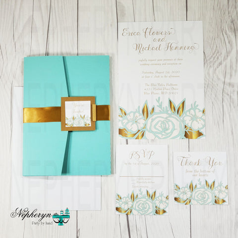 Mint & Gold Floral Wedding Invitation Set