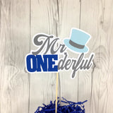 Mr. Onederful Cake Topper - Gray, Blue