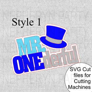 Mr. Onederful Cake Topper SVG Style 1