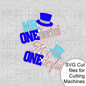 Mr. Onederful Cake Topper SVG Cutting Files