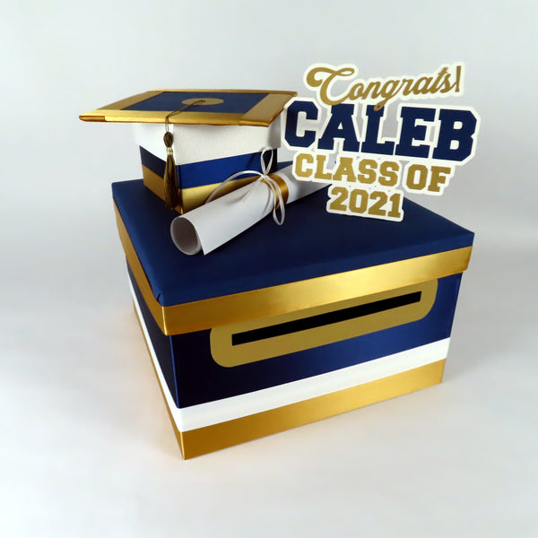 Navy, Old Gold, & White Class of 2021 Graduation Card Box