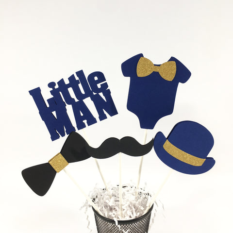 Little Man Centerpiece Sticks - Navy, Gold, Black