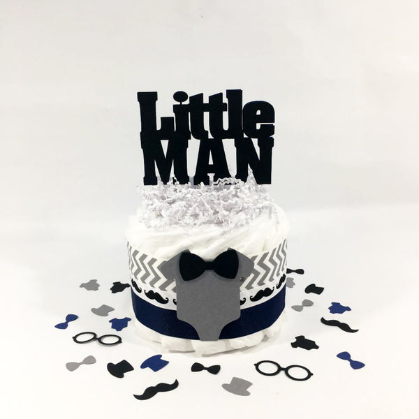 Navy and Gray Small Little Man Diaper Cake Centerpiece