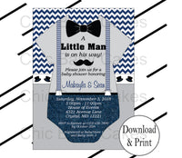 Navy & Gray Little Man Onesie Invite