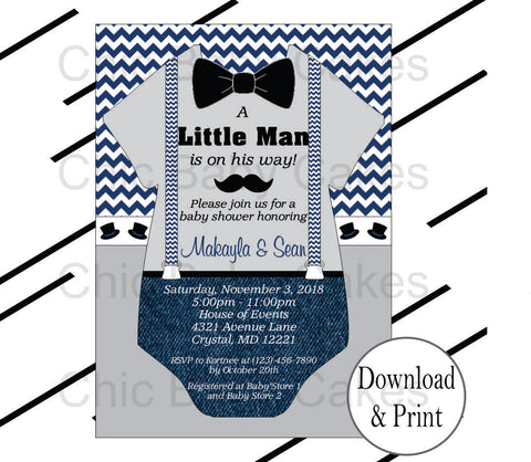 Little Man Invites - Navy, Gray