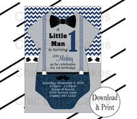 Navy & Gray Little Man Onesie Birthday Invite