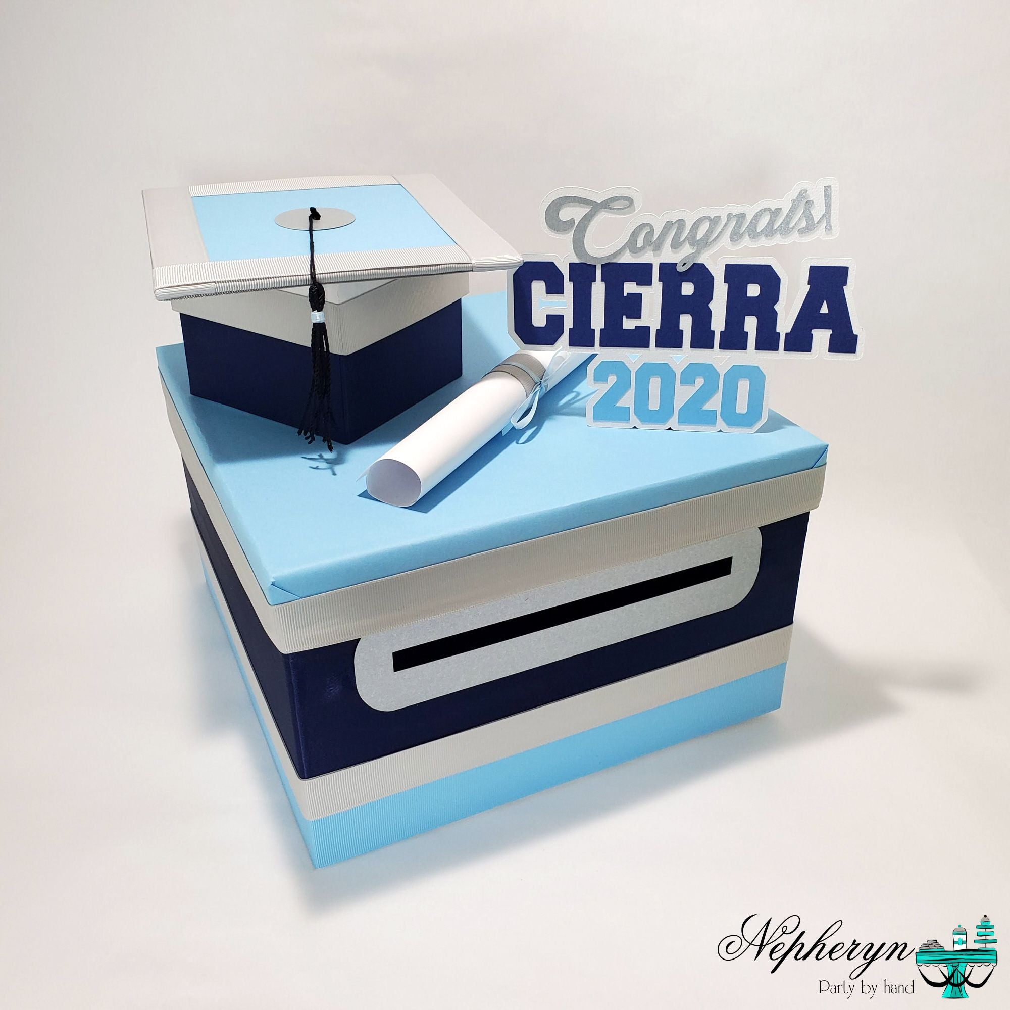 Light Blue and Navy 2020 Graduation Card Box