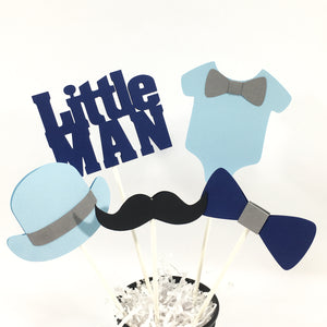 Light Blue and Navy Little Man Centerpiece Sticks
