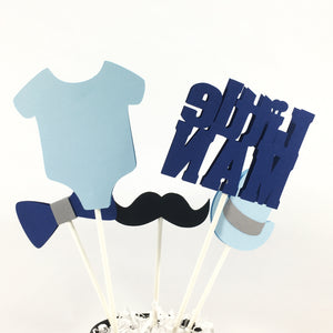 Little Man Centerpiece Sticks - Navy, Light Blue, Gray