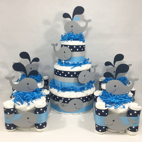 Whale Diaper Cake Centerpieces - Blue, Gray