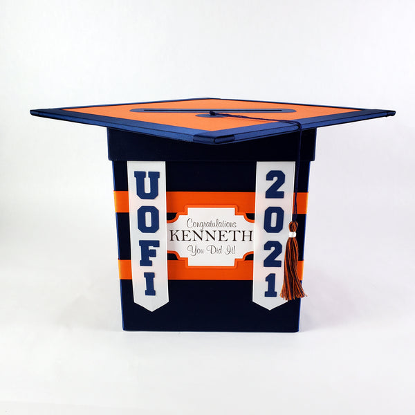 Navy & Orange College Graduation Card Box