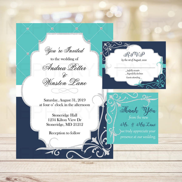 Navy, Teal, & Silver Wedding Invite Set