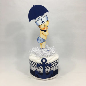 Nautical Boy Mini Diaper Cake Centerpiece