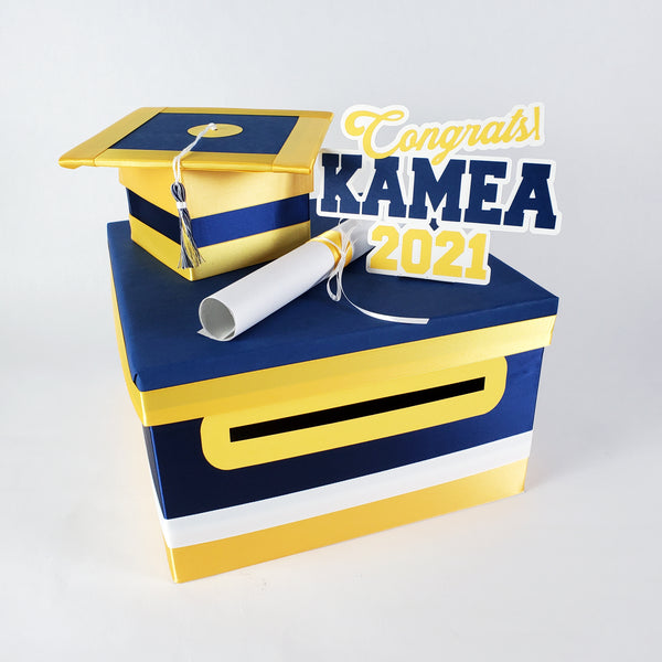 Navy & Yellow Gold Graduation Card Box