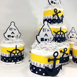 Nautical Boy Diaper Cake - Navy, Yellow