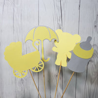 Yellow & Gray Baby Shower Centerpiece Sticks
