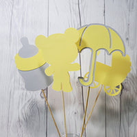 Neutral Baby Shower Centerpiece Sticks - Yellow, Gray