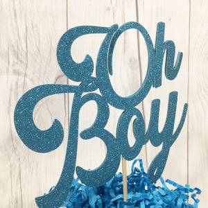 Oh Boy Glitter Baby Shower Cake Topper