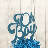 Oh Boy Cake Topper - Glitter Blue