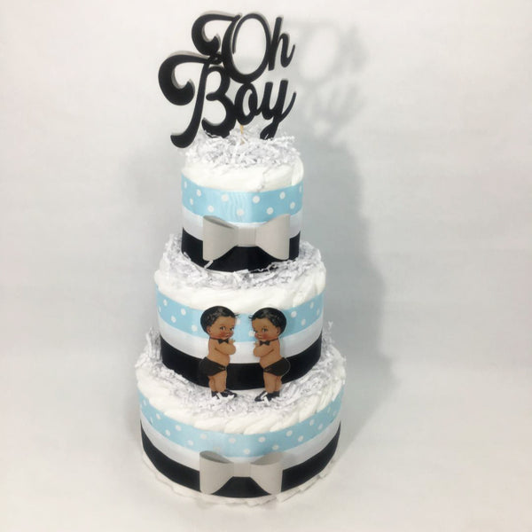 Blue & Black Oh Boy Baby Shower Diaper Cake