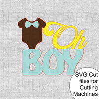Oh Boy Cake Topper SVG Cutting File
