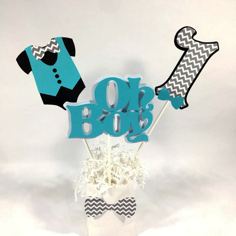 Oh Boy Birthday Centerpiece Sticks -Teal, Black, & Gray